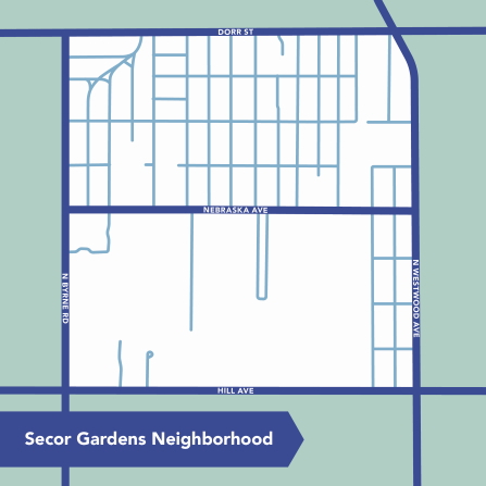 Secor Gardens Neighborhood map